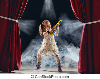 ギター, 女の子, 遊び, ステージ