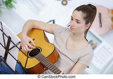 ギター, 女の子, 遊び