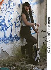 ギター, 女の子, 電気である