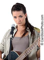 ギター, 女, 歌うこと, 若い, 遊び