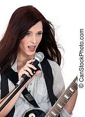 ギター, 女, 歌うこと, 遊び