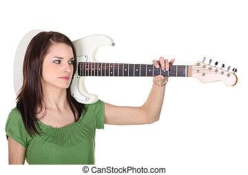 ギター, 女, 若い