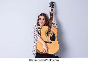 ギター, 女, 若い, 保有物