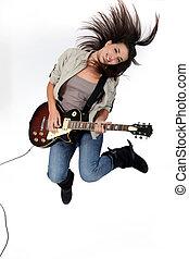 ギター, 女, 若い, 跳躍, 遊び