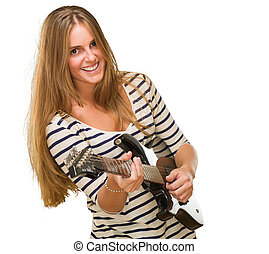 ギター, 女, 若い, 遊び