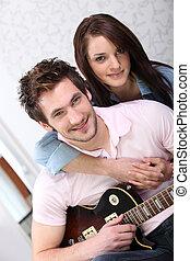ギター, 女, 若者