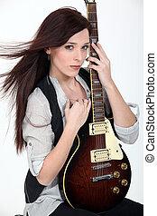 ギター, 女, 電気である