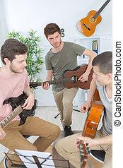 ギター, 家, 友人, グループ, 遊び