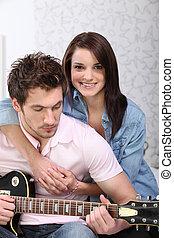 ギター, 家, 恋人, 若い, 遊び