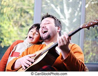 ギター, 家, 父, 遊び, 息子