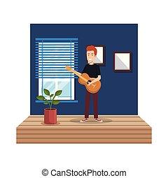 ギター, 家, 若者