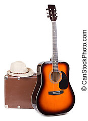 ギター, 帽子, 古い, スーツケース