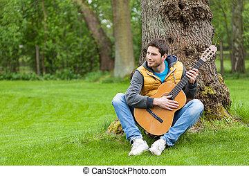 ギター, 庭, 人