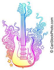ギター, 引かれる, ベクトル, エレクトロ, 手