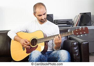 ギター, 成人, 家肖像画, 遊び, 人