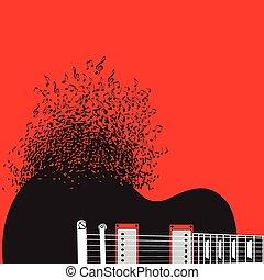 ギター, 抽象的, 音楽, 背景