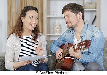 ギター, 持つこと, 家, レッスン, 人