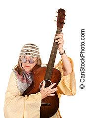 ギター, 新しい, 狂気, 女, 年齢