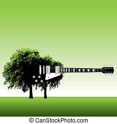 ギター, 木, 背景