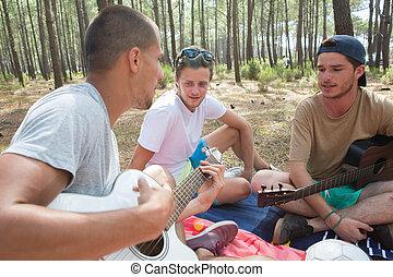 ギター, 森林, 遊び, 若い人々