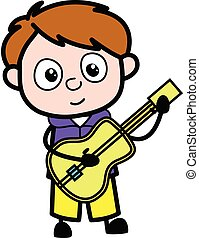 ギター, 漫画, 男の子, 遊び