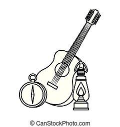 ギター, 灯油, ランタン, ガイド, コンパス