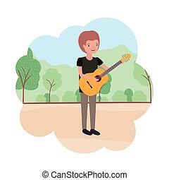 ギター, 特徴, 風景, 人
