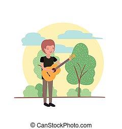 ギター, 特徴, avatar, 風景, 人