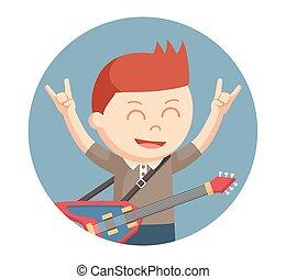 ギター, 男の子, わずかしか, 円, 背景