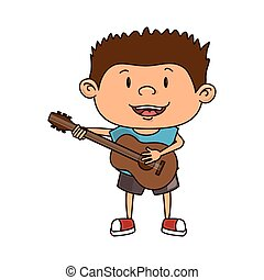 ギター, 男の子, 子供, 漫画, 遊び