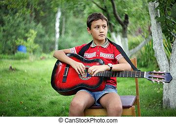 ギター, 男の子, 屋外で