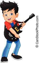 ギター, 男の子, 白い背景, プレーヤー