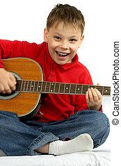 ギター, 男の子, 白い背景, 音響