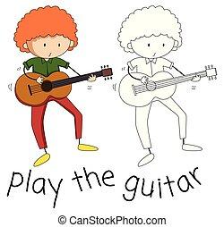 ギター, 男の子, 遊び, いたずら書き
