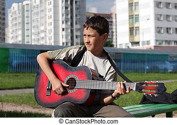 ギター, 男の子, 遊び, 屋外で