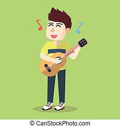 ギター, 男の子, 遊び