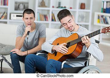 ギター, 男性, 歌うこと, 若い, 遊び