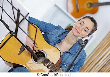 ギター, 若い, 女性, 遊び