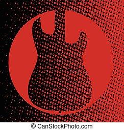 ギター, 赤い背景