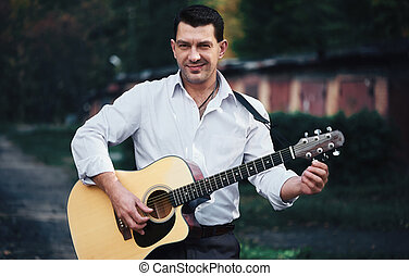 ギター, 通り, 遊び, 人