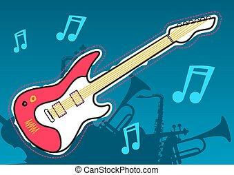 ギター, 道具, シルエット, 音楽, ミュージカル