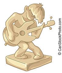 ギター, 金, 小像, プレーヤー