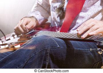 ギター, 電気である, 環境, プレーヤー, スタジオ, 手, 専門家, closeup.