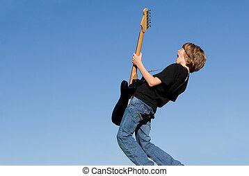 ギター, 音楽家, 歌うこと, 遊び, 子供