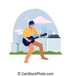 ギター, 音楽家, 遊び, 人, クラシック