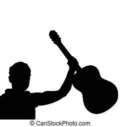 ギター, 音楽家, 黒, ベクトル, 人