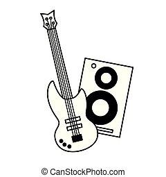 ギター, 音楽, スピーカー, 背景