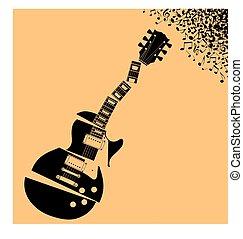 ギター, 音楽, 背景, 折られる