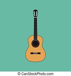 ギター, 音響, ベクトル, 隔離された, イラスト