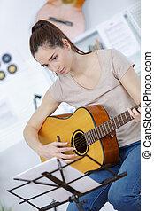 ギター, 音響, 女, 若い, 遊び